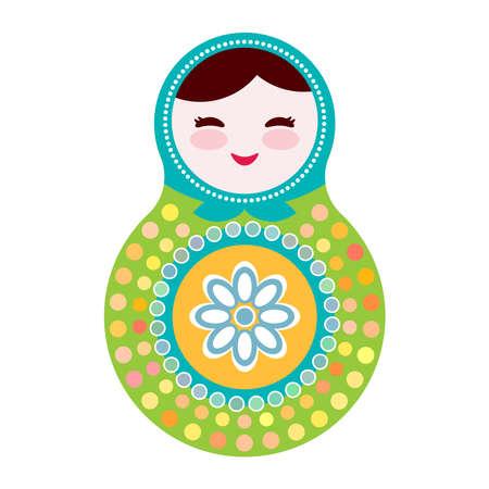 muñecas rusas: Matryoshka muñecas rusas sobre fondo blanco, verde y azul. ilustración vectorial