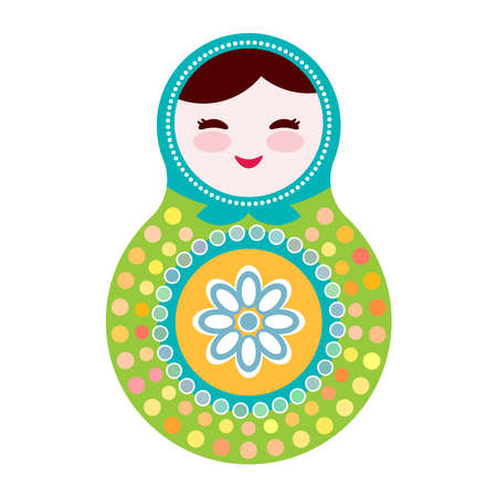 russian dolls: Russian dolls matryoshka on white background, green and blue colors. Vector illustration