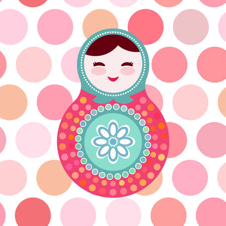 russian dolls: Russian dolls matryoshka on white background, pink and blue colors, card with pink polka dot backgroun. Vector illustration
