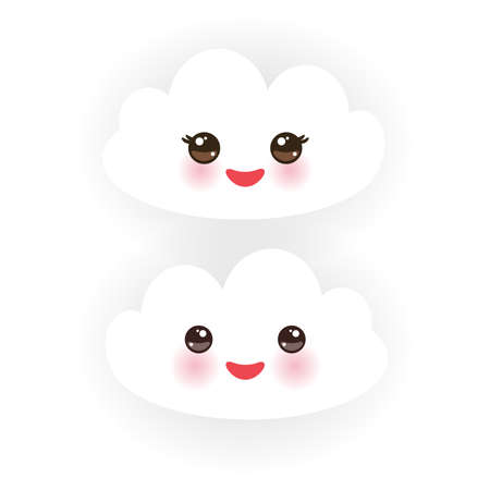 white clouds: Kawaii funny white clouds, muzzle with pink cheeks and winking eyes  on white background. Vector illustration