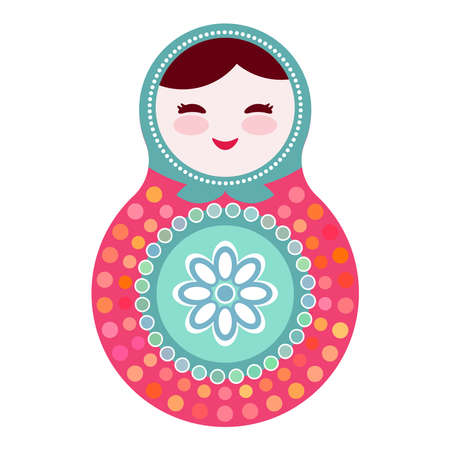 babushka: Russian dolls matryoshka on white background, pink and blue colors. Vector illustration