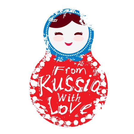 funny baby: from Russia with love - Russian dolls matryoshka on white background, red and blue colors. Vector illustration Illustration