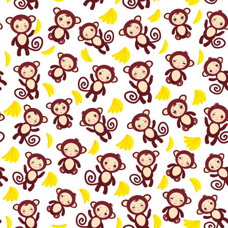 seamless pattern with funny brown monkey, yellow bananas, boys and girls on white background. Vector illustration Ilustração