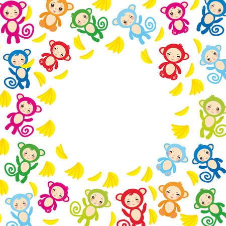 green face: card template, funny green blue pink orange monkey, yellow bananas, boys and girls on white background. Vector illustration