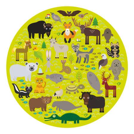 kuropatwa: żubr bat Wilk futra lisa manat łosia konia kuropatwa uszczelnić Niedźwiedź polarny Pit Viper węża Kozioł szop Eagle skunk papugi Jaguar zając Narwal łosie Grizzly gannet Muskox żółw aligatora. Ilustracji wektorowych Ilustracja