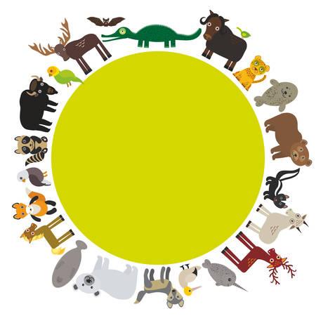 mountain goat: Animal round frame, bison bat manatee fox elk horse wolf fur seal Polar bear Mountain goat raccoon Eagle skunk parakeet Jaguar narwhal elk Grizzly gannet Muskox alligator. Vector illustration