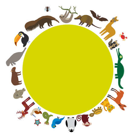 booby: Round frame. Sloth anteater toucan lama bat seal armadillo boa manatee monkey dolphin Maned wolf raccoon jaguar Hyacinth macaw lizard turtle crocodile deer penguin Blue-footed booby Capybara. Vector illustration