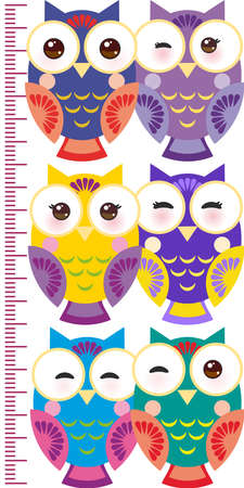colorful owls Children height meter wall sticker, kids measure, Growth Chart. Vector illustration