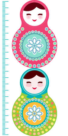 height measure: Russian dolls matryoshka on white background, pink and blue colors Children height meter wall sticker, kids measure, Growth Chart. Vector illustration