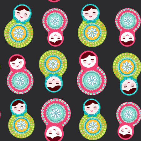 funny baby: Russian dolls matryoshka on black background, seamless pattern, pink and blue colors. Vector illustration