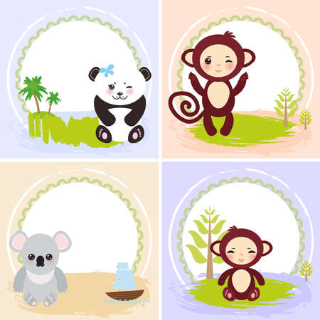 animal frame: set of cards design  with funny animals, template banner for your text with round frame.