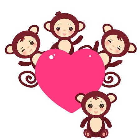 mono caricatura: Conjunto de diseño divertido de los niños y niñas mono marrón Tarjeta con un animal divertido con el corazón de color rosa sobre un fondo blanco.