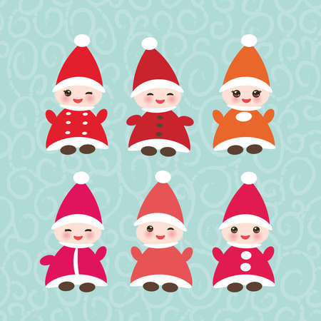 Happy New Year card, set Funny gnomes in red hats on blue background.