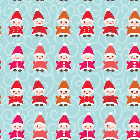 dwarfs: Happy New Year Funny gnomes in red hats seamless pattern on blue background. Illustration