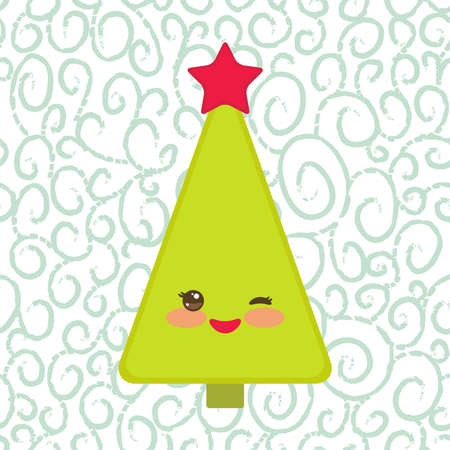 cutie: Happy New Year card. Funny green Christmas tree with a red star smiling and winking eye. Illustration