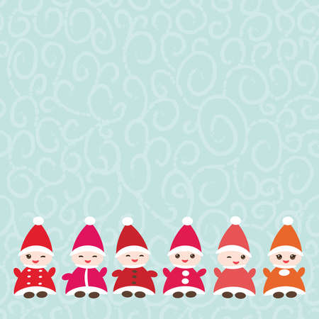Happy New Year card for your text Funny gnomes in red hats on blue background. Illustration
