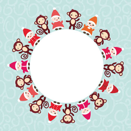 gnomes: 2016 Happy New Year card for your text round frame. Funny gnomes in red hats brown monkey on blue background. Illustration