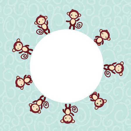 cutie: Set of funny brown monkey boys and girls on blue background.