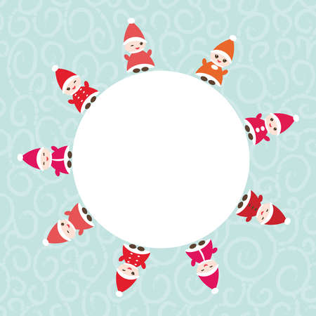 dwarfs: Happy New Year card for your text round frame. Funny gnomes in red hats on blue background. Illustration