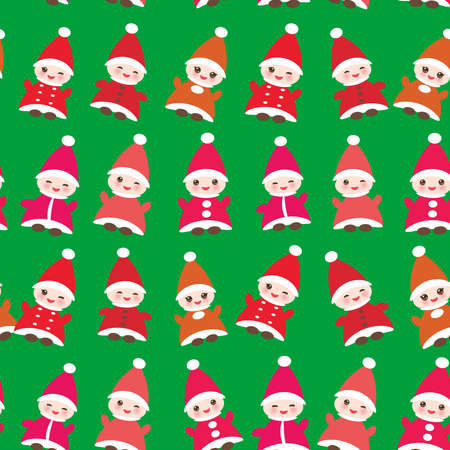 dwarfs: Happy New Year Funny gnomes in red hats seamless pattern on green background.