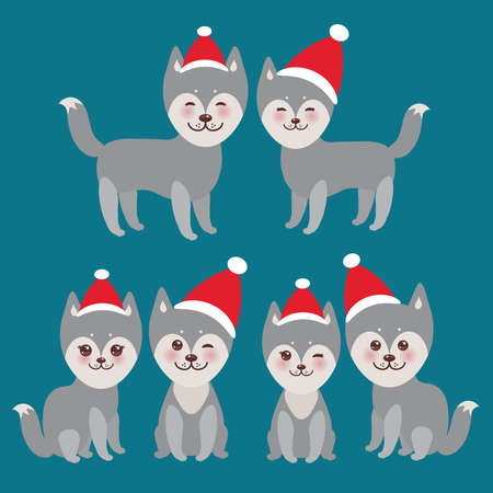 alaskabo: New Years and Christmas funny gray husky dog in the red hat