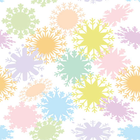 snowflake set: Christmas design seamless pattern, snowflake set blue mint orange pink lilac on white background. Vector illustration