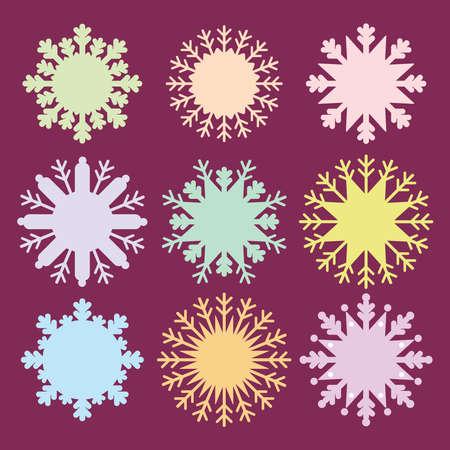 fiambres: Copo de nieve de dise�o de la tarjeta establece la menta naranja azul lila rosa sobre fondo morado burdeos oscuro. ilustraci�n vectorial