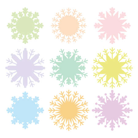 snowflake set: Christmas card design snowflake set blue mint orange pink lilac on white background. Vector illustration