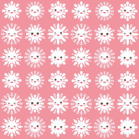 cheeks: seamless pattern, Kawaii snowflake set white funny face with eyes and pink cheeks on light pink background. Vector illustration