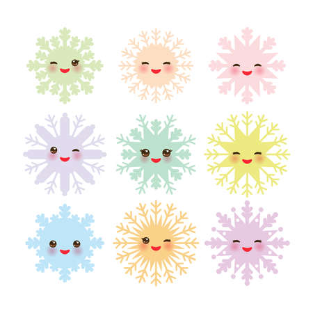 snowflake set: Kawaii snowflake set blue mint orange pink lilac funny face with eyes and pink cheeks on white background. Vector illustration