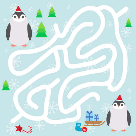 Funny penguins in the red hat, snowflakes and gifts, christmas winter labyrinth game for Preschool Children on blue background. Vector illustration Ilustração