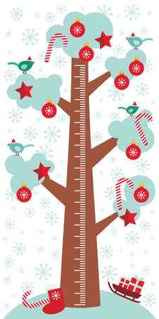 measure height: Big tree with white snow on the branches, birds and red christmas decorations. Candy, balls, stars, sock, sleigh with gifts on white background Children height meter wall sticker, kids measure. Vector illustration Illustration