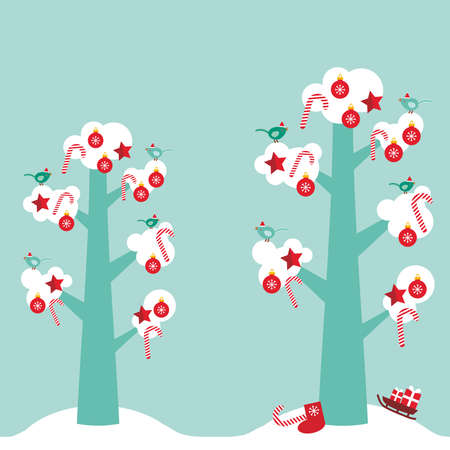 skyblue: Merry Christmas card design trees with white snow on the branches, birds and red christmas decorations. Candy, balls, stars, sock, sleigh with gifts on sky-blue sky background. Vector illustration