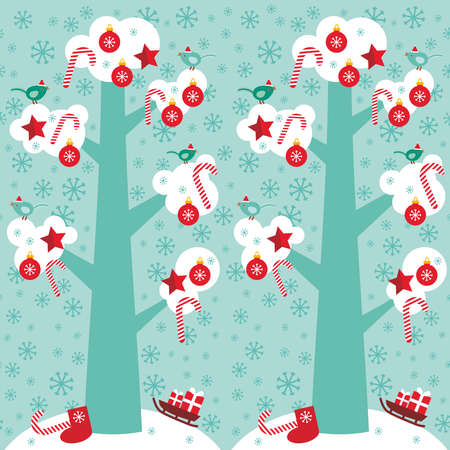 skyblue: seamless pattern Big tree with white snow on the branches, birds and red christmas decorations. Candy, balls, stars, sock, sleigh with gifts on sky-blue sky background. Vector illustration Illustration