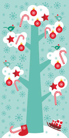 skyblue: Merry Christmas card design Big tree with white snow on the branches, birds and red christmas decorations. Candy, balls, stars, sock, sleigh with gifts on sky-blue sky background. Vector illustration