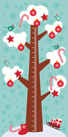 measure height: Big tree with white snow on the branches, birds, red christmas decorations. Candy, balls, stars, sock, sleigh with gifts on sky-blue background Children height meter wall sticker, kids measure. Vector illustration