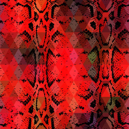 snake skin: Snake skin texture  with colored rhombus. Geometric background.