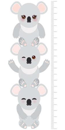 koala: coala. altura de los niños etiqueta de la pared del medidor, niños medida, la carta de crecimiento. ilustración vectorial Vectores