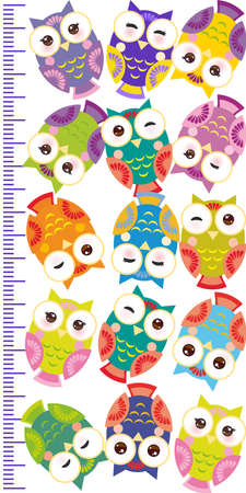 measure height: colorful owls Children height meter wall sticker, kids measure, Growth Chart. Vector illustration