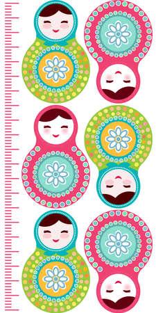 mu�ecas rusas: Mu�ecas rusas Matryoshka en el fondo blanco, rosa y azul etiqueta de la pared Ni�os metros de altura, medida los ni�os, Carta de crecimiento. Ilustraci�n vectorial