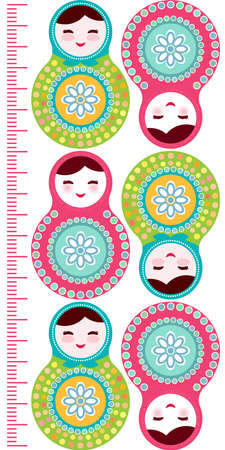 measure height: Russian dolls matryoshka on white background, pink and blue colors Children height meter wall sticker, kids measure, Growth Chart. Vector illustration