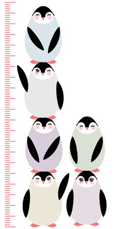 height measure: penguins on white background Children height meter wall sticker, kids measure, Growth Chart. Vector illustration