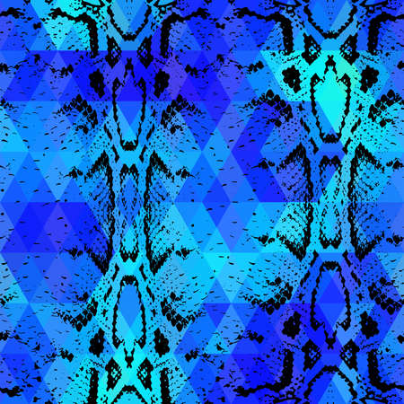 snakeskin: Snake skin texture  with colored rhombus. Geometric background. Seamless pattern black blue background, colorful psychedelic geometric mosaic ornament triangle. Vector illustration