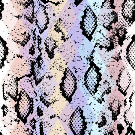 Snake skin texture  with colored rhombus. Geometric background. Seamless pattern black purple blue pink background, colorful psychedelic geometric mosaic ornament triangle. Vector illustration Ilustração