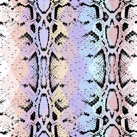 snakeskin: Snake skin texture  with colored rhombus. Geometric background. Seamless pattern black purple blue pink background, colorful psychedelic geometric mosaic ornament triangle. Vector illustration Illustration