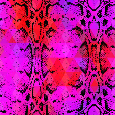 snake skin: Snake skin texture  with colored rhombus. Geometric background. Seamless pattern black lilac pink red background, colorful psychedelic geometric mosaic ornament triangle. Vector illustration