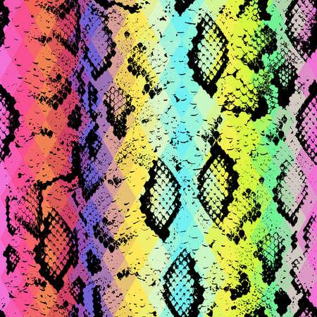 serpiente cobra: Textura de la piel de serpiente con rombo de color. Fondo geométrico. Patrón transparente arco iris negro azul verde rosa púrpura fondo amarillo, colorido psicodélico mosaico ornamento geométrico triángulo. Ilustración vectorial