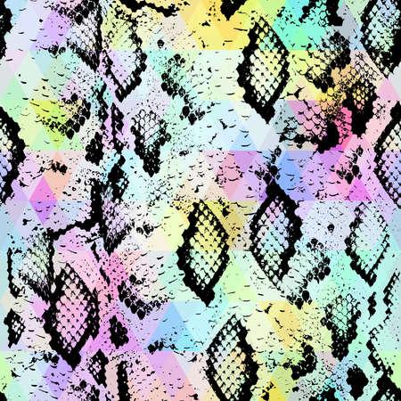 Snake pelle con rombi colorati. sfondo geometrico. Seamless pattern arcobaleno nero verde viola blu sfondo giallo, colorato psichedelico mosaico geometrico ornamento triangolo. illustrazione di vettore