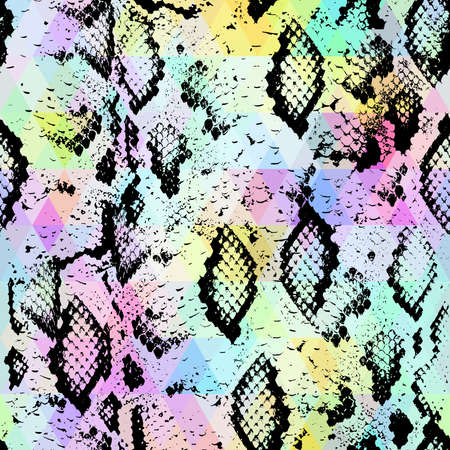 Snake skin texture  with colored rhombus. Geometric background. Seamless pattern black rainbow green purple blue yellow background, colorful psychedelic geometric mosaic ornament triangle. Vector illustration Ilustração