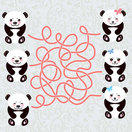 cheeks: Kawaii funny panda white muzzle with pink cheeks and big black eyes. labyrinth game for Preschool Children Vector